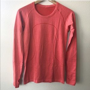Lululemon Swiftly Long Sleeve Top Orange Stripe 6
